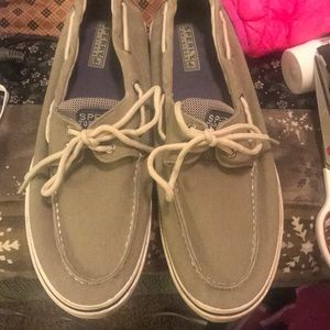 Tan canvas Sperry Top siders. EUC